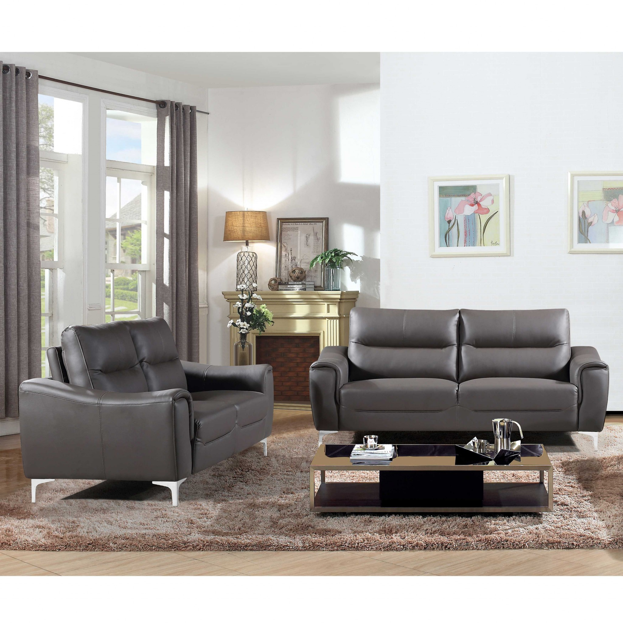 Gray 2 Piece  Modern Leather and Fabric Upholstered Stationary Sofa and Loveseat