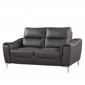 Gray 1pc Modern Leather and Fabric Upholstered Stationary Living Room Loveseat