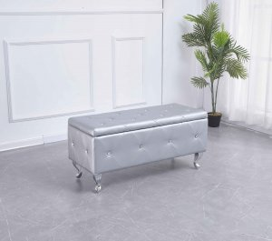 Silver Tufted Hard Wood Storage Bench