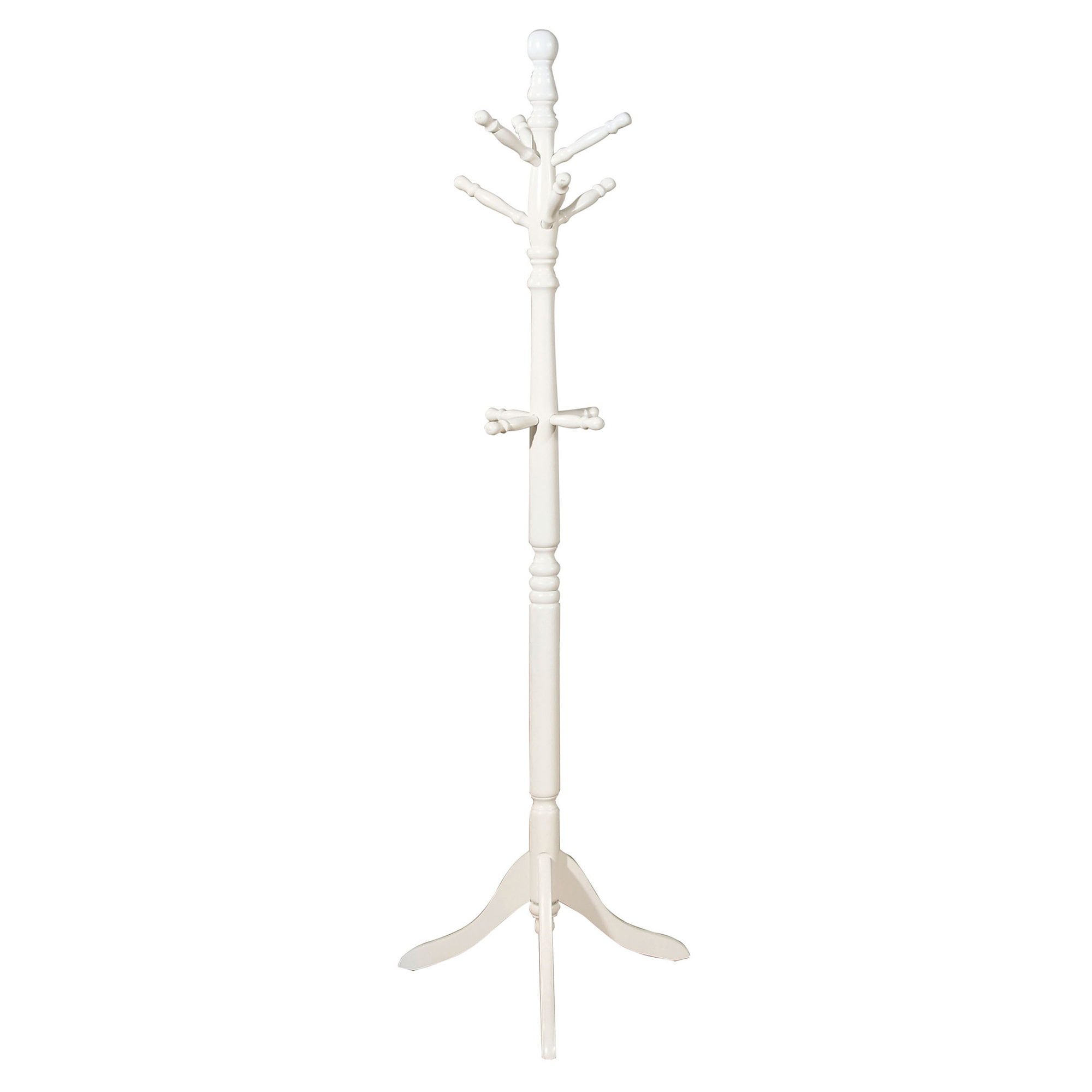 Transitional Style Coat Rack, White