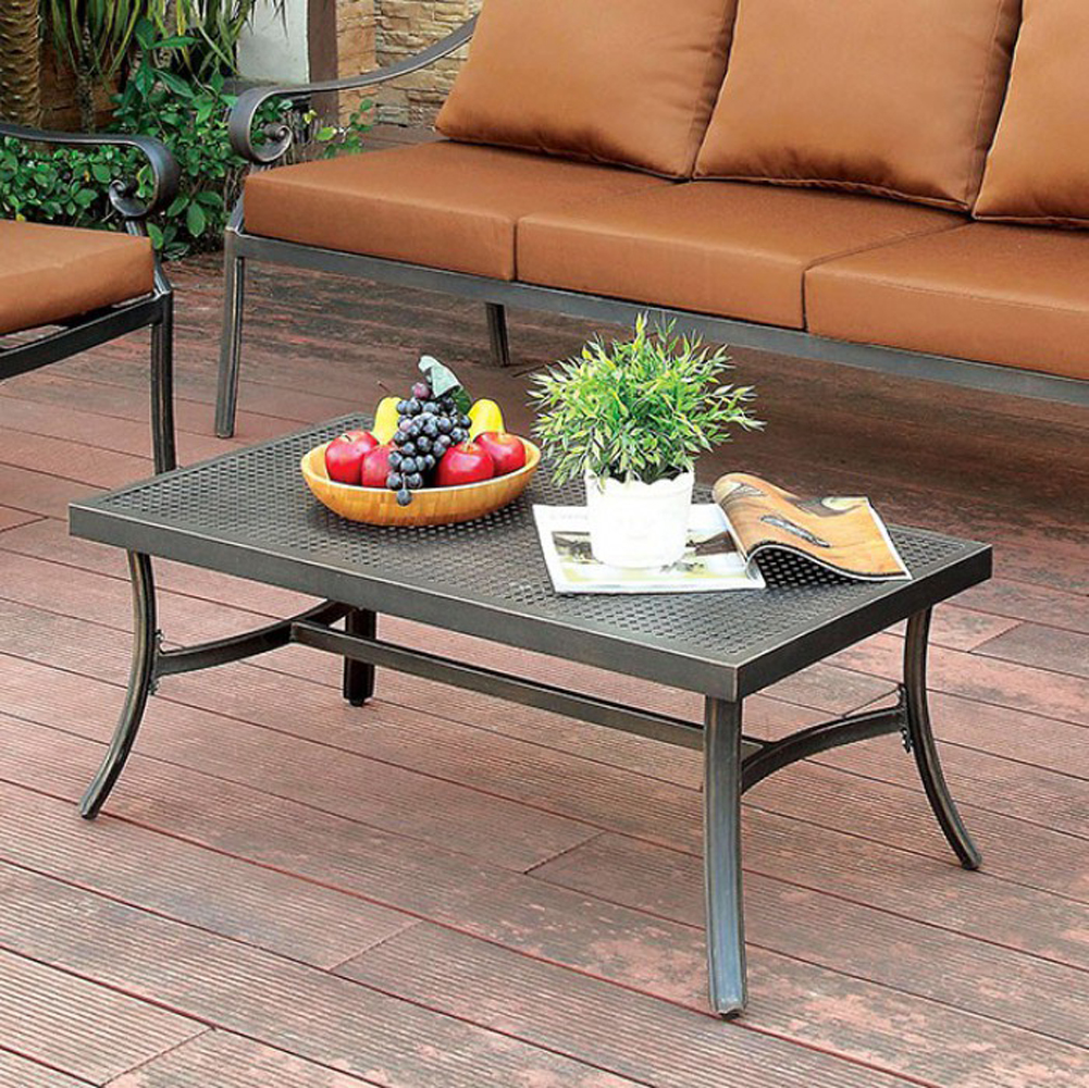 Contemporary Style Metal Coffee Table, Distressed Black
