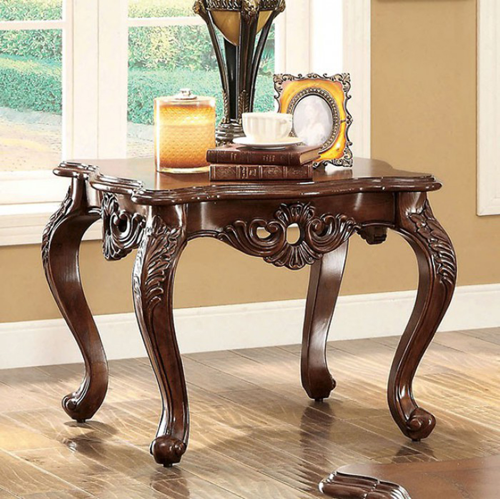 Transitional Style End Table, Brown
