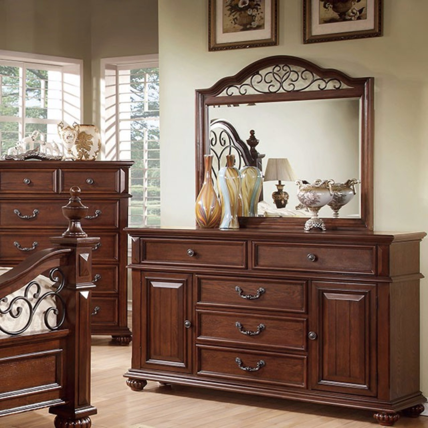 Astounding Wooden Dresser In Traditional Style, Antique Dark Oak Brown