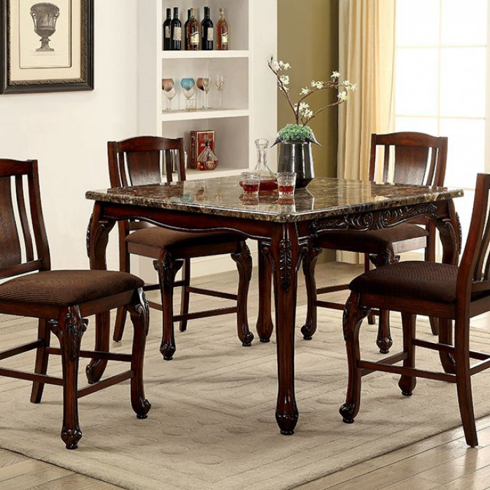 Traditional Style Counter Height Table, Brown Cherry