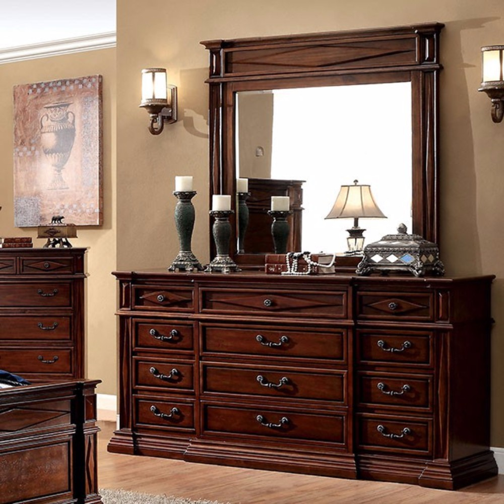 Antique Styled Wooden Dresser In Transitional Style, Cherry Brown