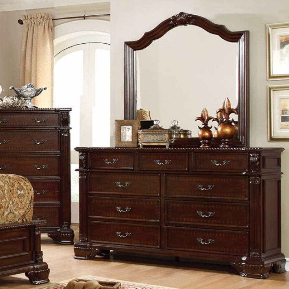 Splendidly Carved Wooden Dresser In Transitional Style, Brown Cherry