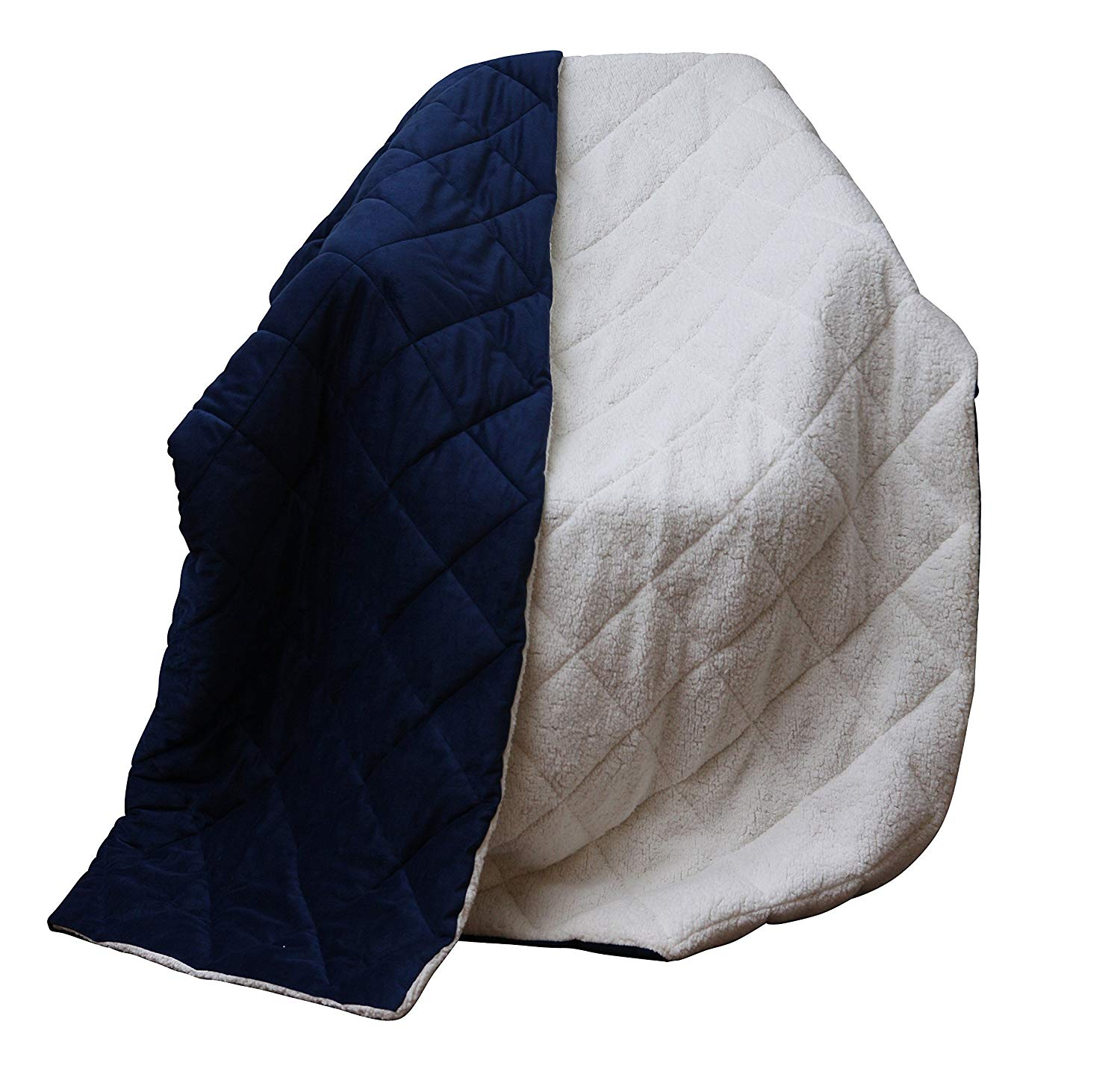 "60"" X 80"" Navy Blue Luxury Cozy Square Quilted Throw Blanket And Black Fleece"