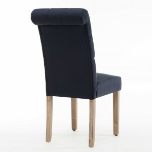 Blue Roll Top Tufted Linen Fabric Modern Dining Chair in a Set of 2