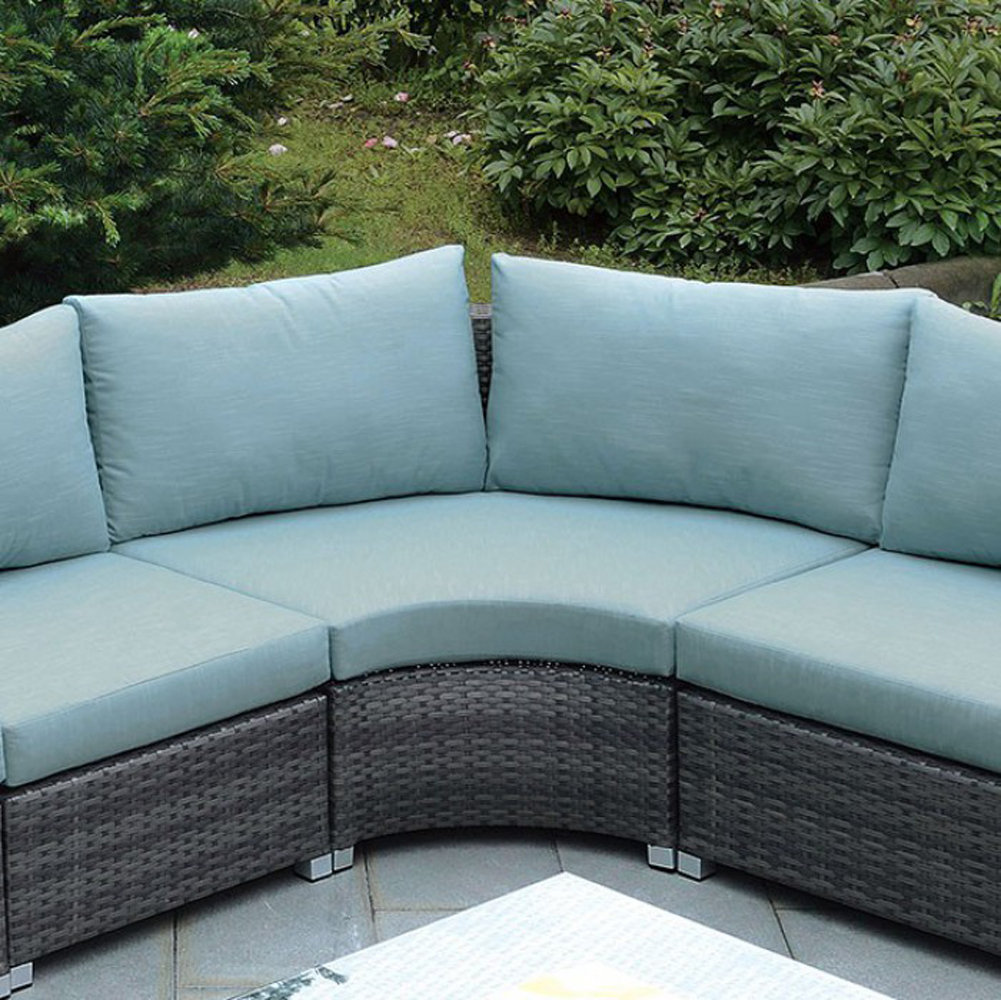 Contemporary Corner Chair, Dark Gray & Blue