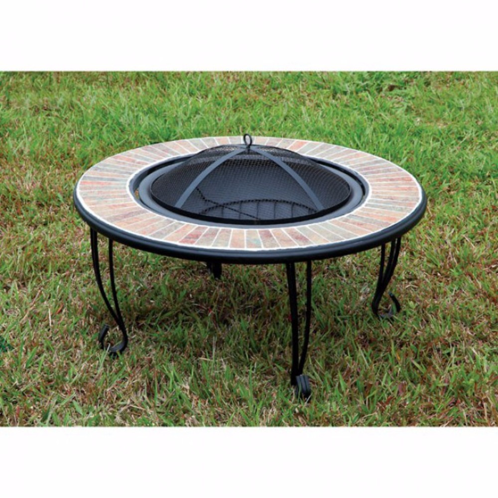 Contemporary Style Fire Pit, Black