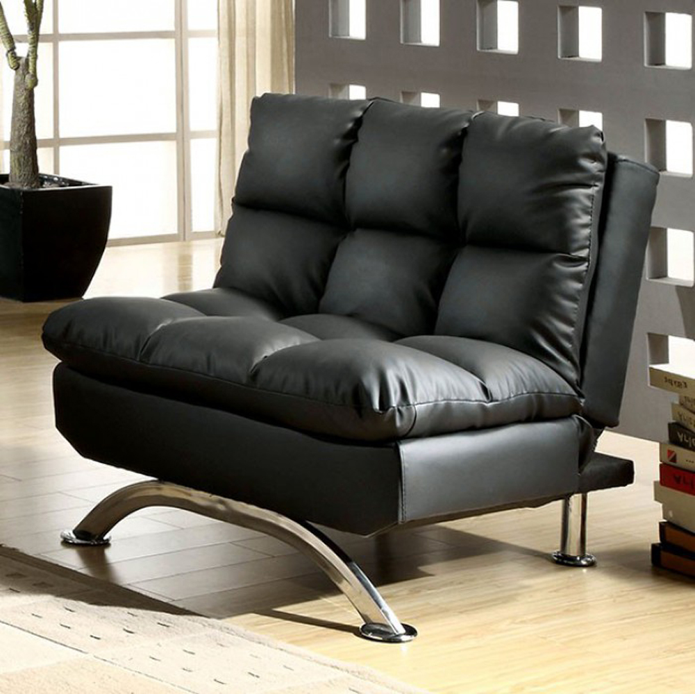 Contemporary Aristo Single Couch Chair With Leather Black Finish