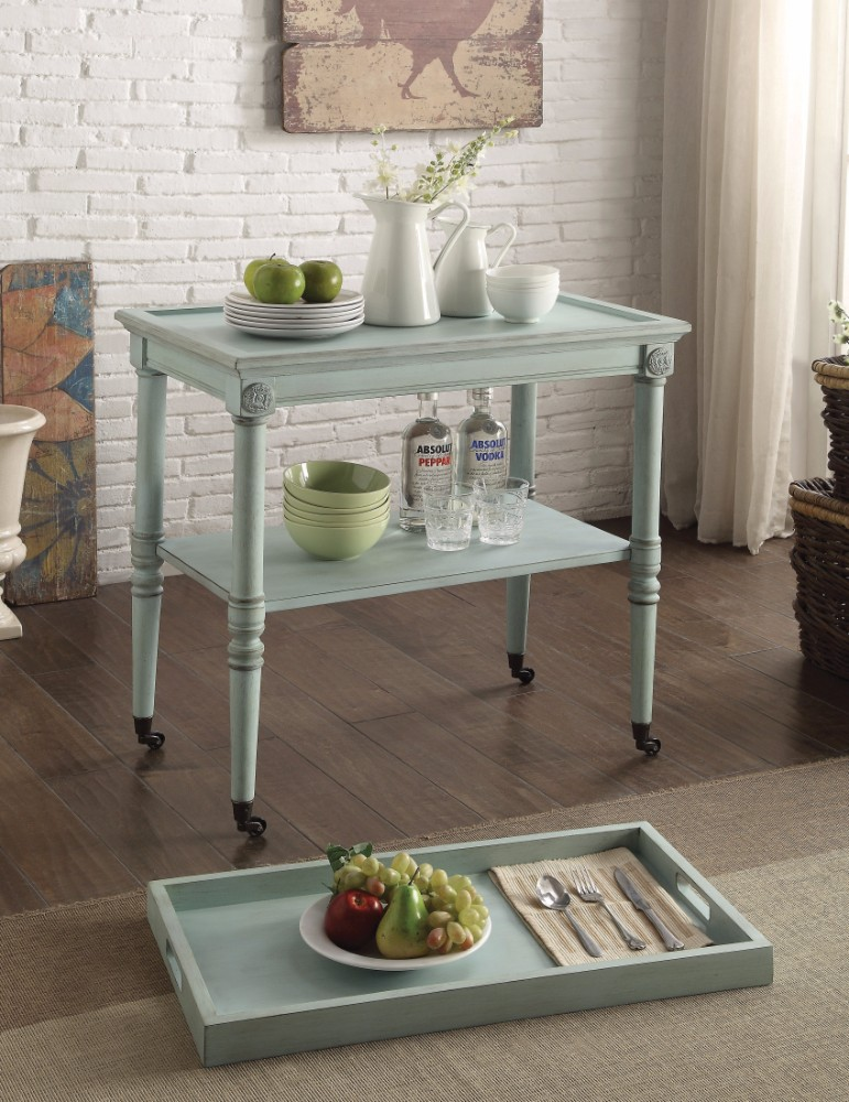 Wooden Serving Tray Table, Antique Green