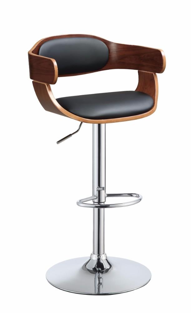 Wooden Adjustable Stool with Swivel, Black & Walnut Brown