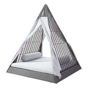 """77"""" X 79"""" X 9"""" Gray And Light Gray Daybed"""
