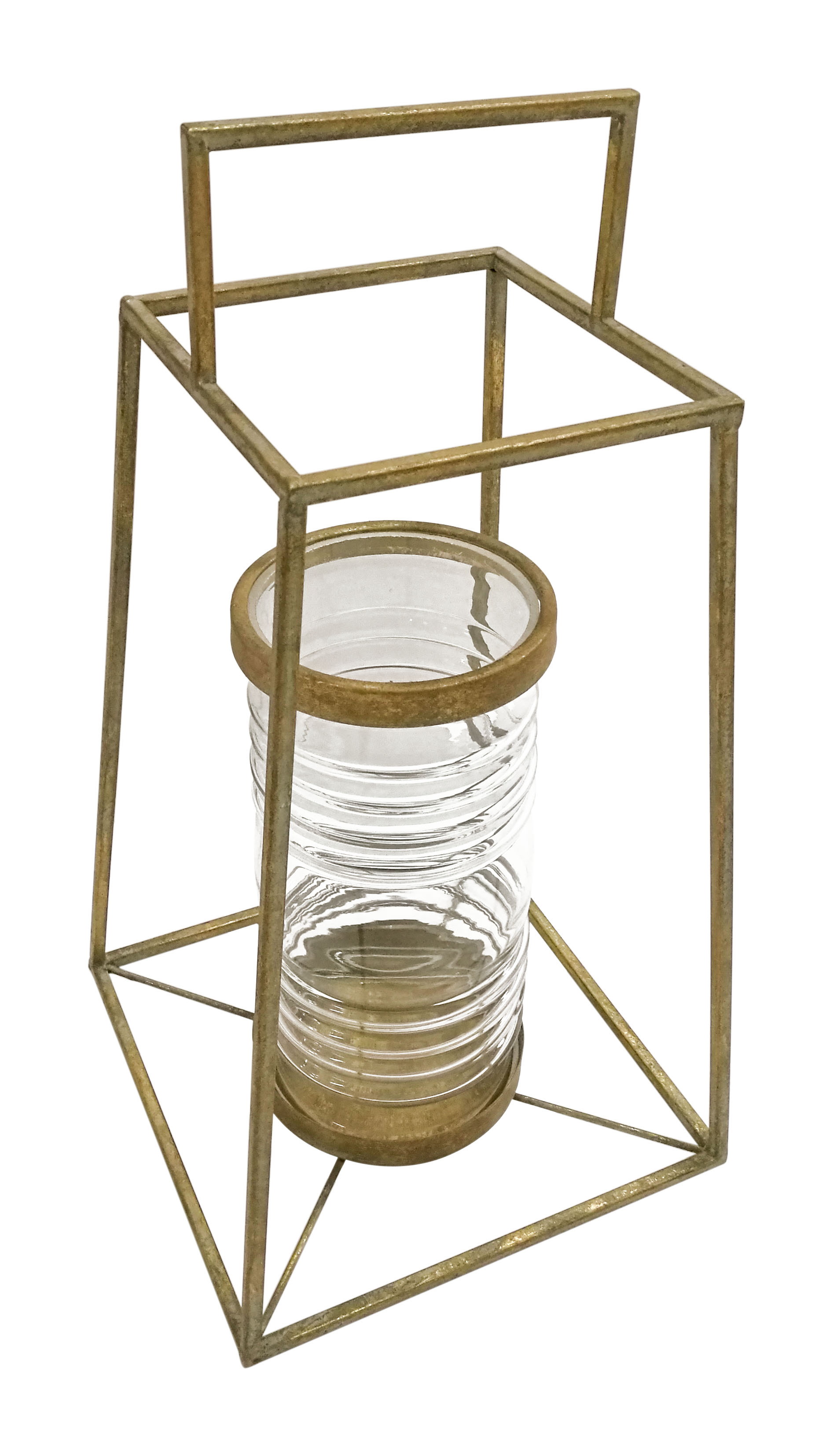 "10"" X 20"" X 10"" Large Antique Gold Pyramid Lantern"
