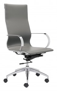 "27.6"" x 27.6"" x 42.9"" Gray, Leatherette, Chromed Steel, High Back Office Chair"