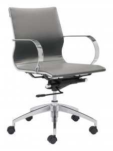"27.6"" x 27.6"" x 33.9"" Gray, Leatherette, Chromed Steel, Low Back Office Chair"