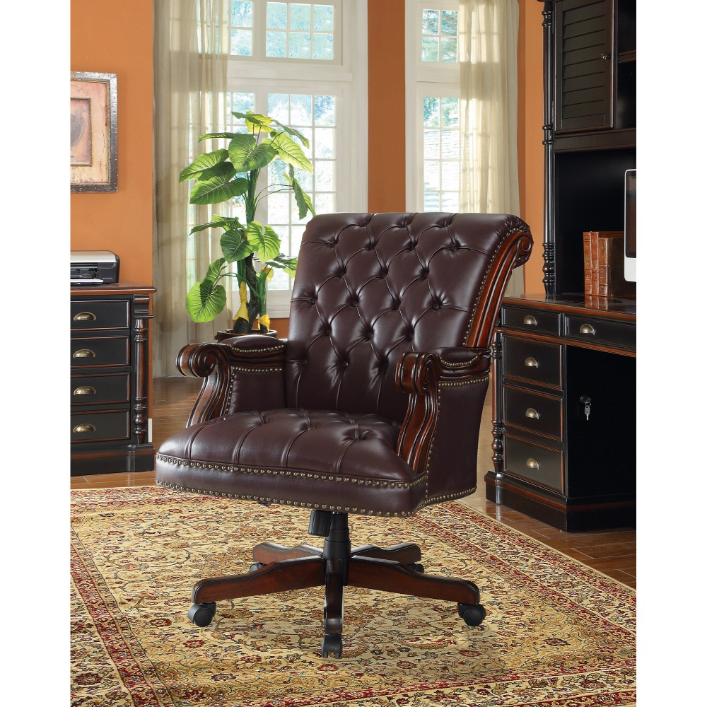 Leather, Traditional Executive Home Office Chair, Dark Brown