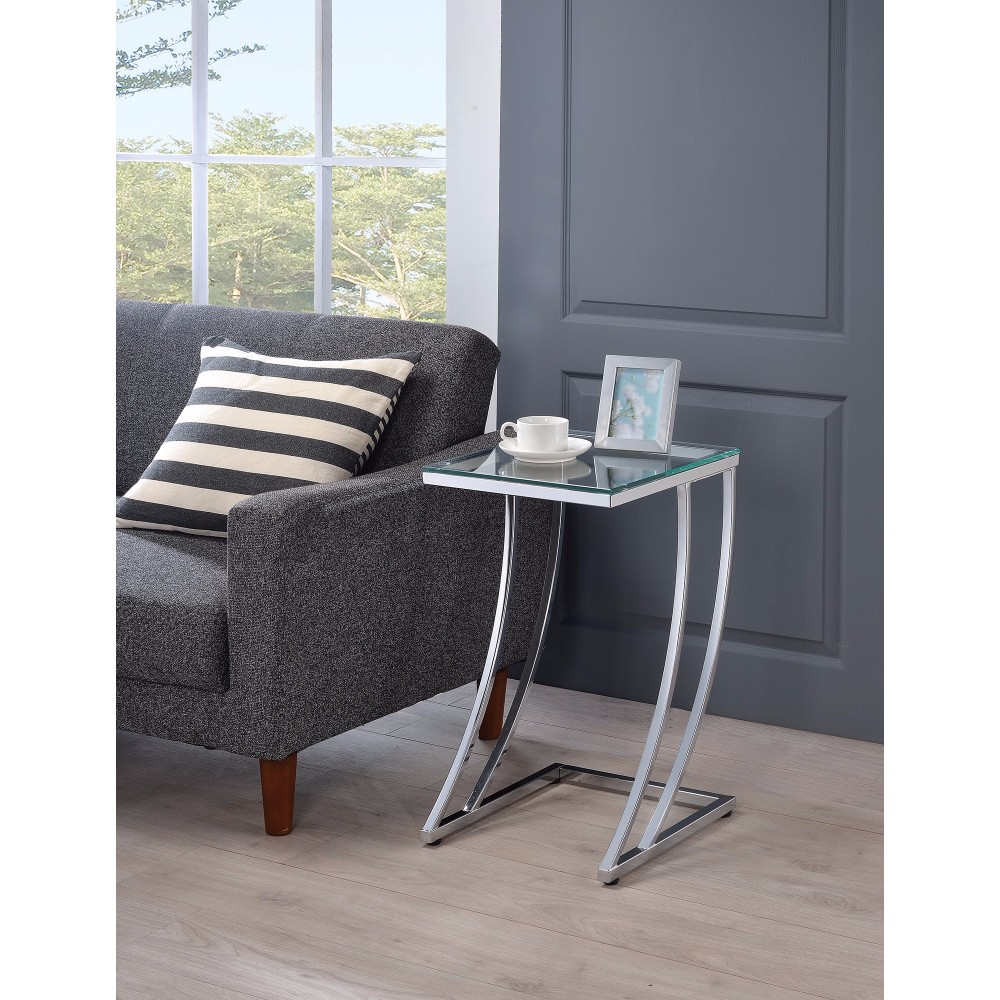 Contemporary Metal Accent Table With Glass Top, Clear And Silver