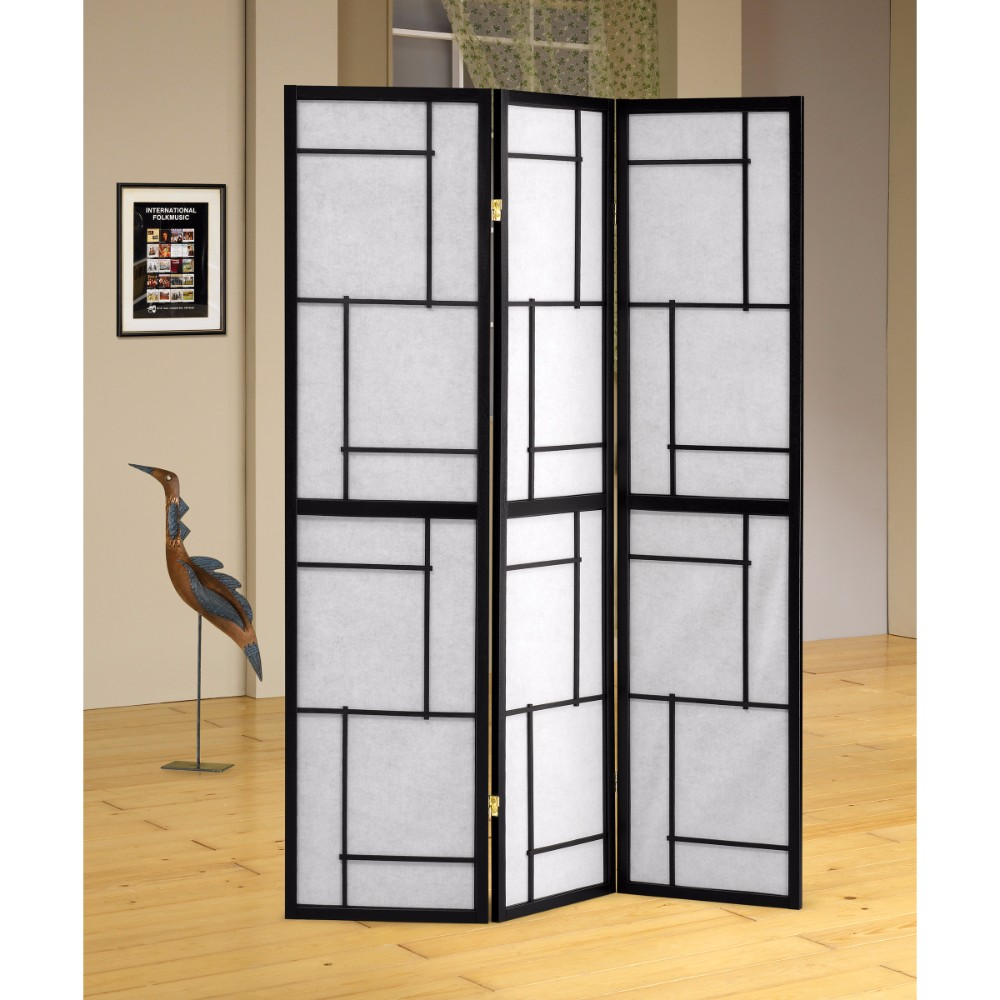 Stylish 3 Panel Wooden Folding Screen, Black
