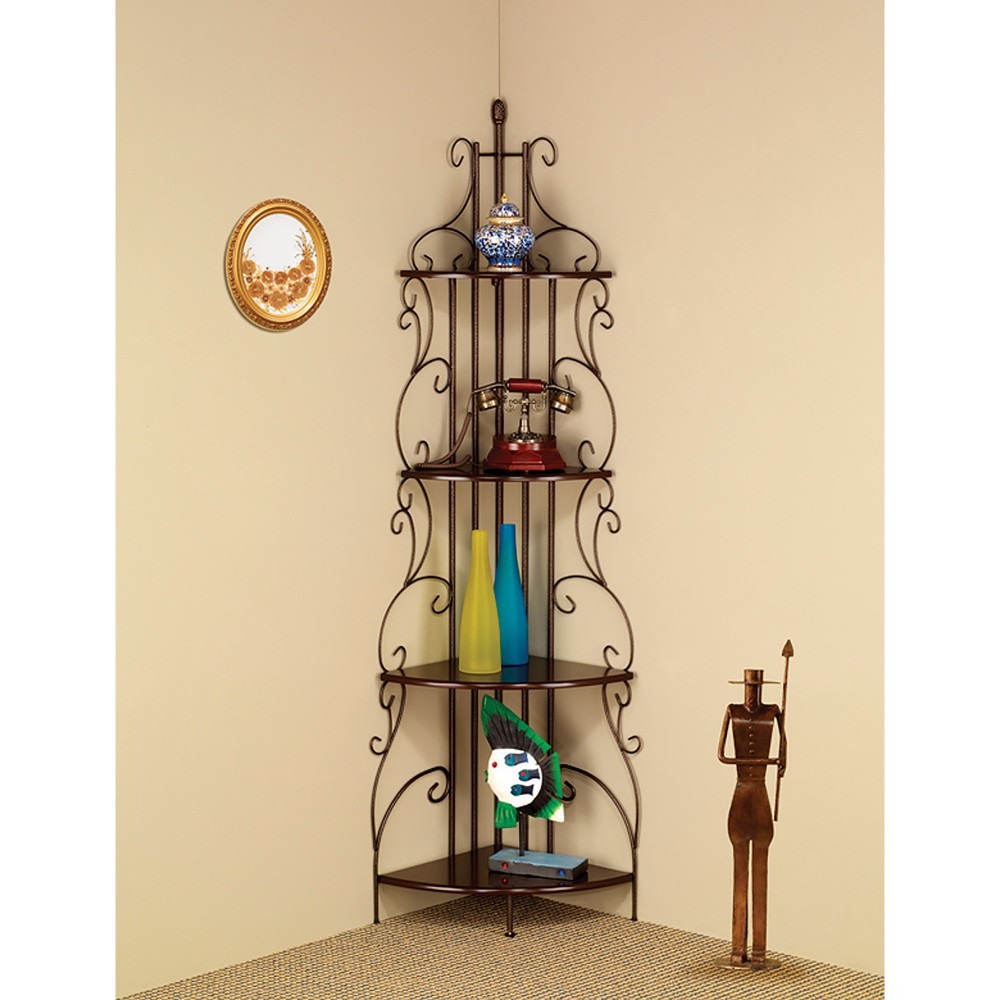 Traditional Four Tier  Metal Corner Shelf Bookcase, Copper