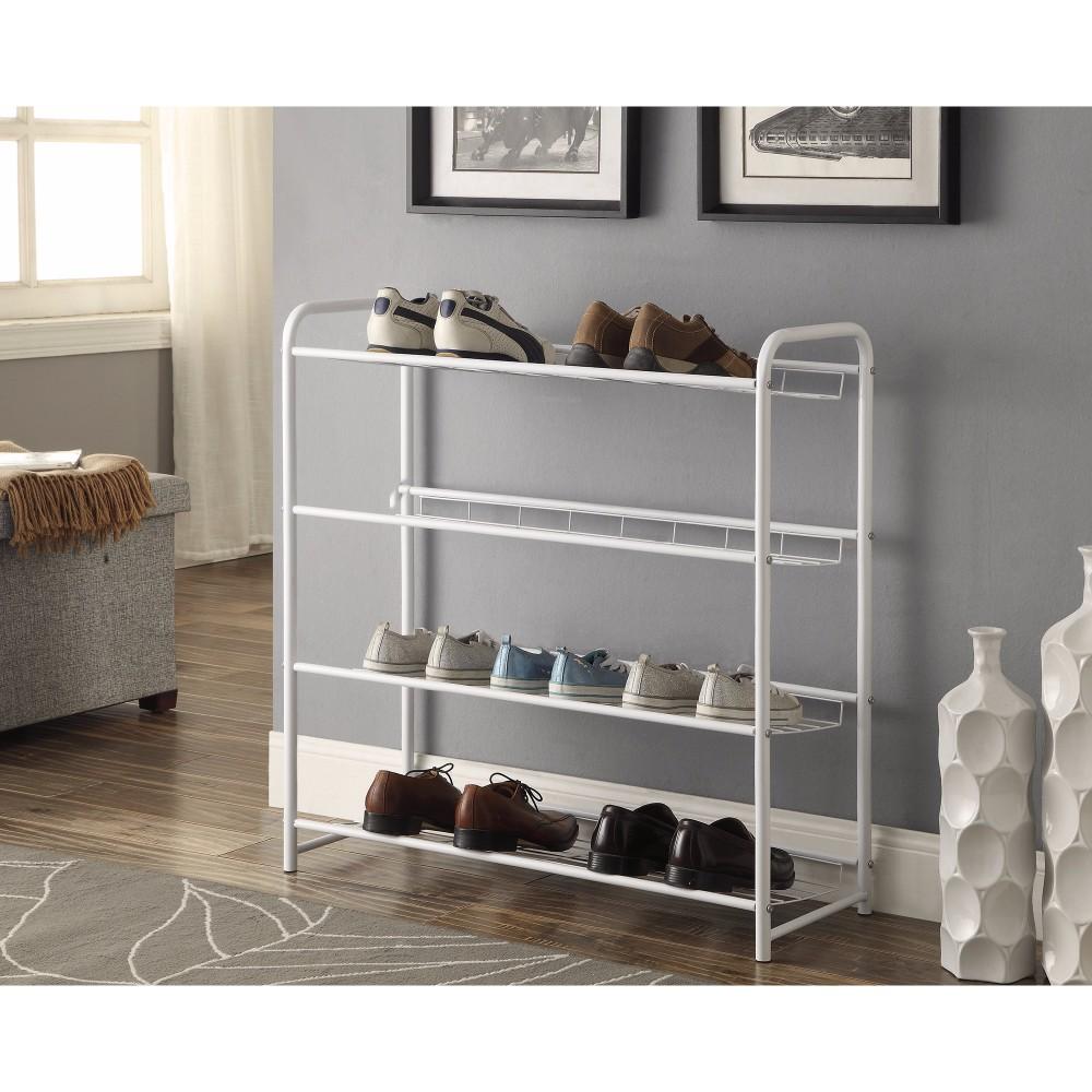 Transitional Style Metal Shoe Rack ,White