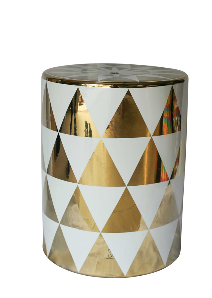 Stylish Ceramic Garden Stool In Gold And White