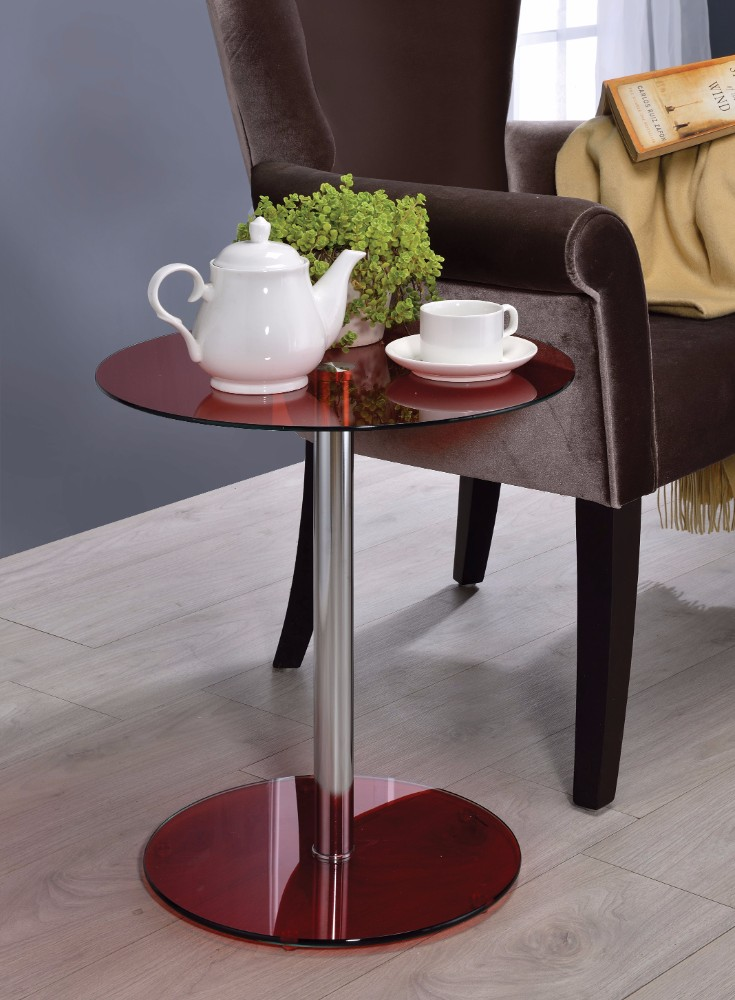 End Table, Red Glass & Chrome
