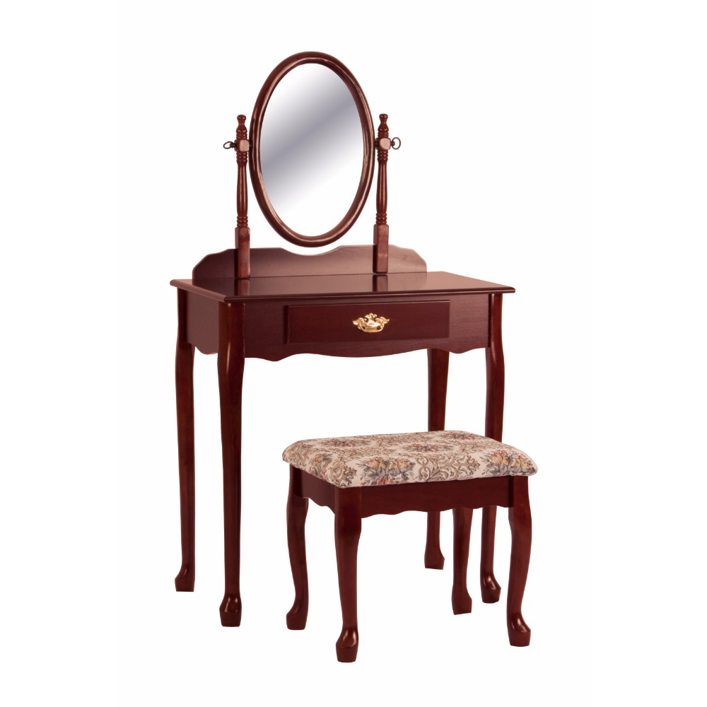 Vanity Table And Stool Set With Oval Mirror, Cherry Brown