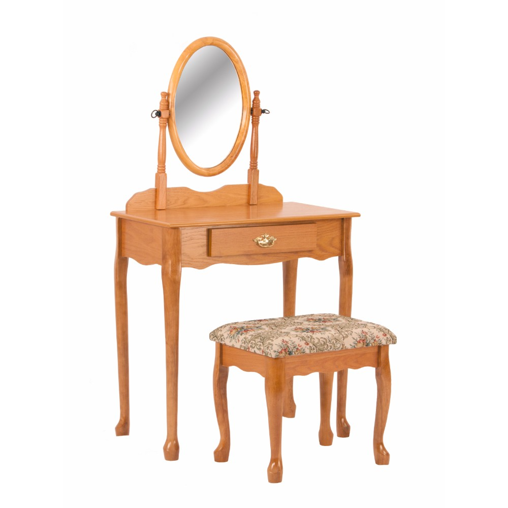 Vanity Table And Stool Set With Oval Mirror, Oak Brown