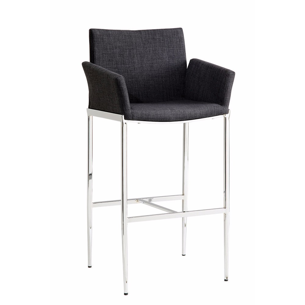 Arched Contemporary Bar Stool, Charcoal ,Set of 2