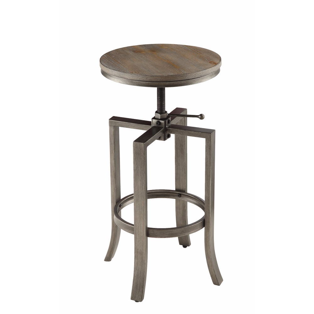 Round Chic Industrial Rustic Adjustable Swivel Bar Stool, Brown ,Set of 2