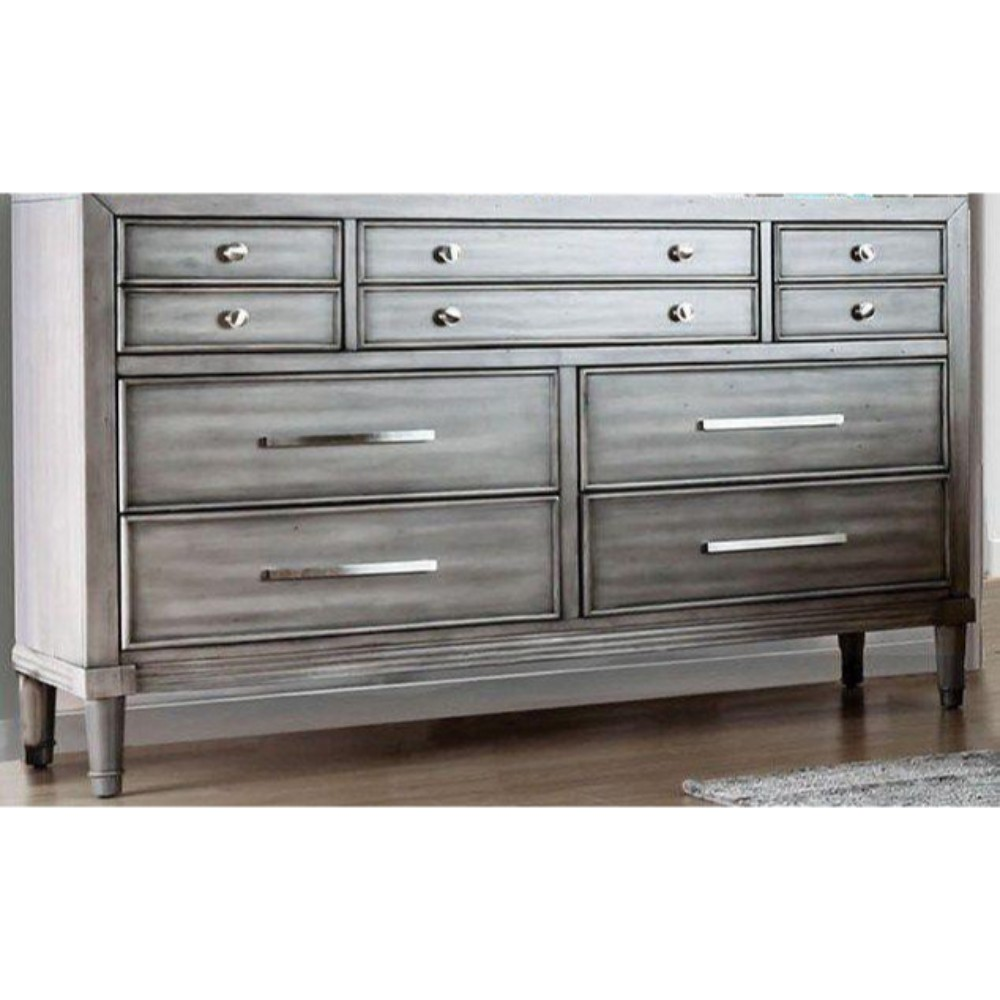 Wooden Dresser with 10 Drawers , Gray
