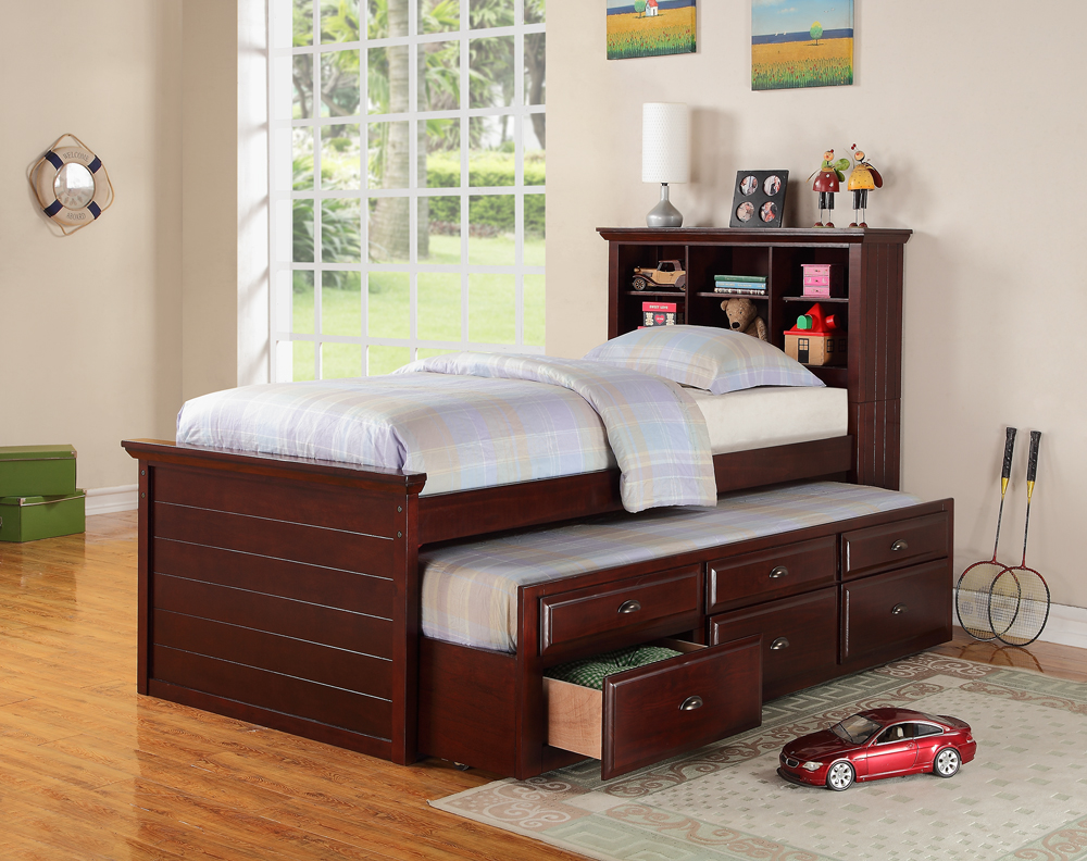 Twin Size Bed With Trundle And Drawers, Cherry Brown