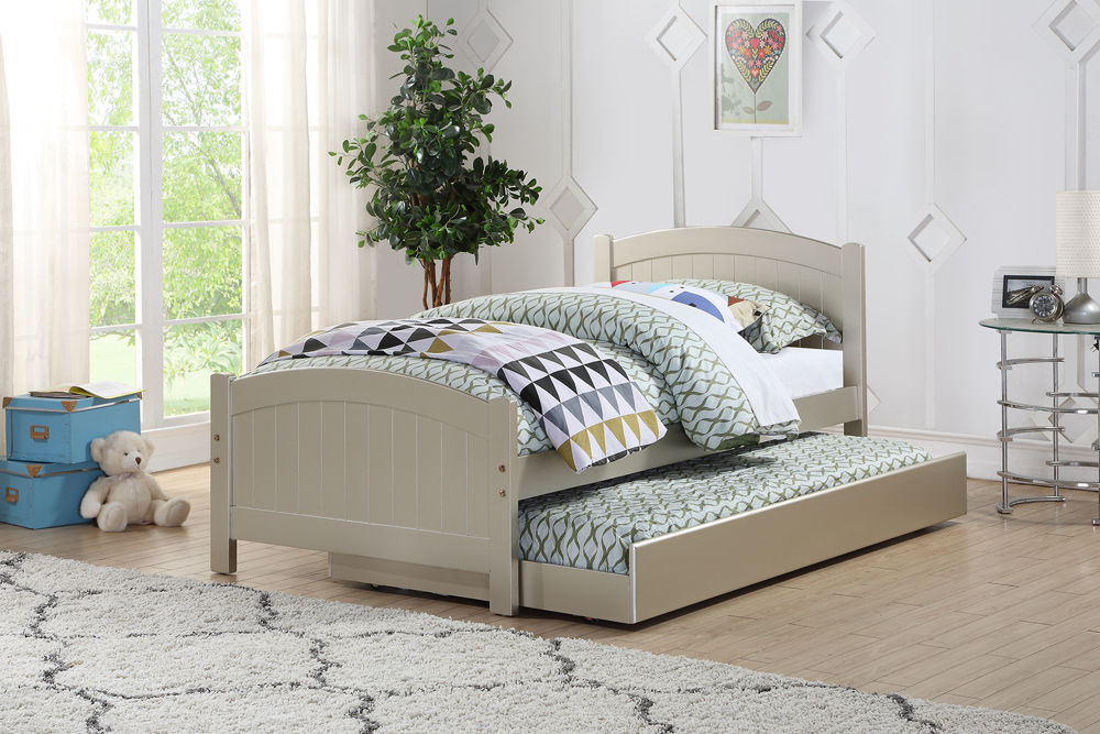 Twin Size Bed With Trundle In Silver