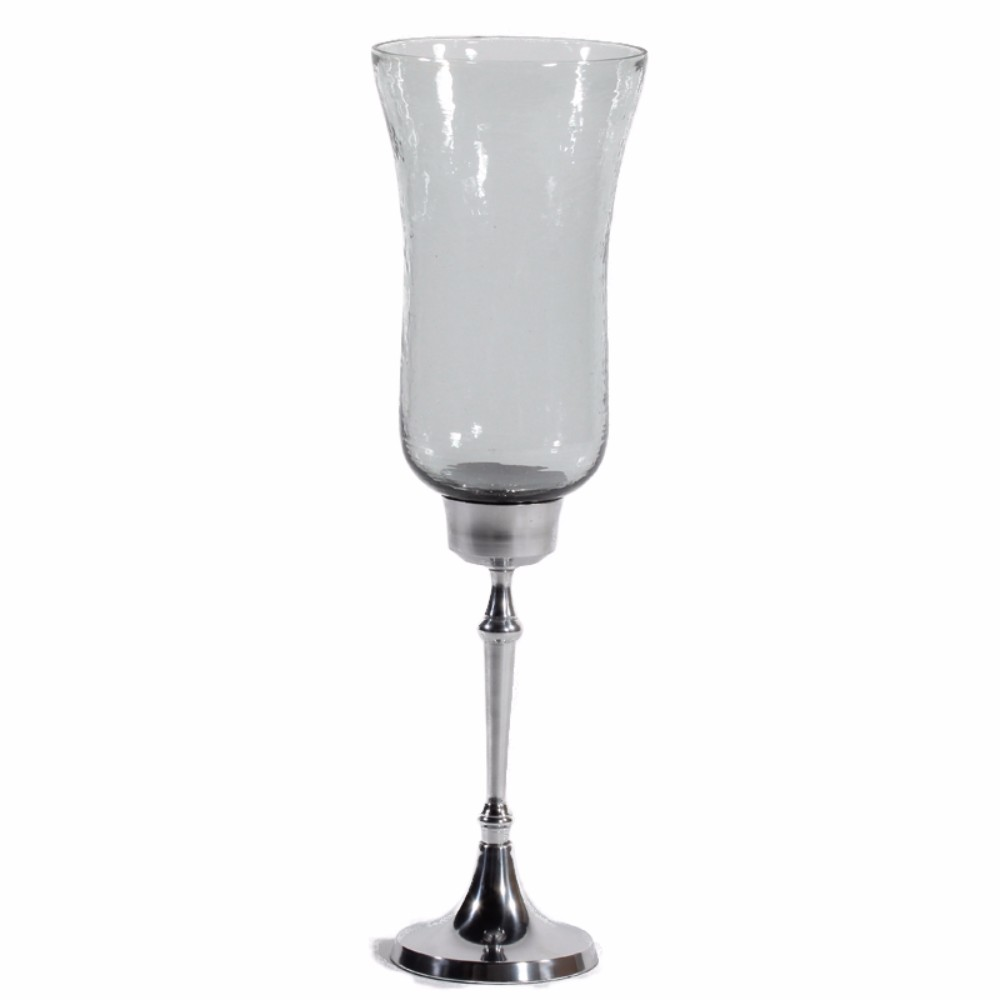 Metal/Glass Candle Holder, Shiny Finish, Silver And Clear