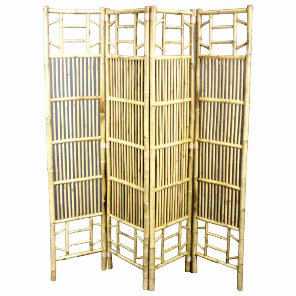 Traditional Style Foldable Bamboo Screen ,Beige