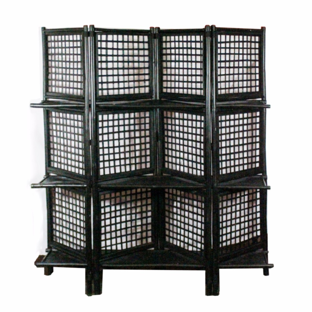 Finely Crafted Foldable Bamboo Screen, Black