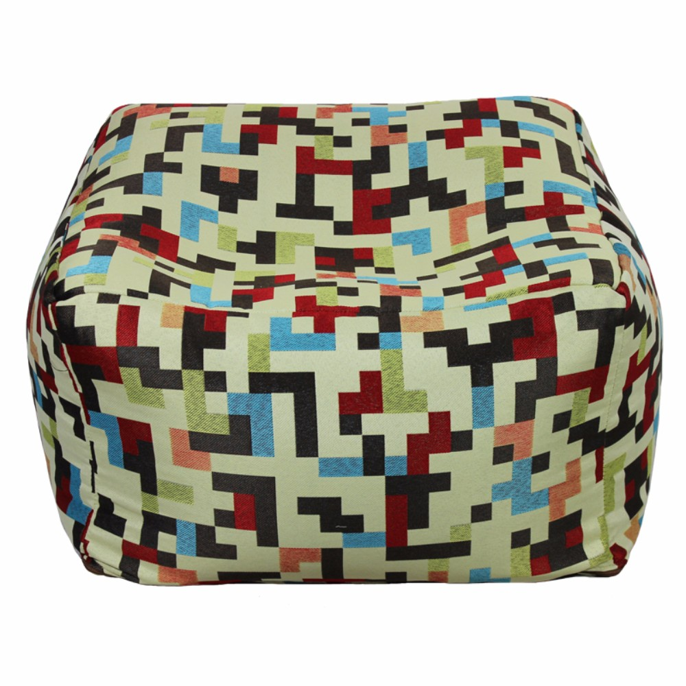Fabric Pouf Ottoman,Multicolored