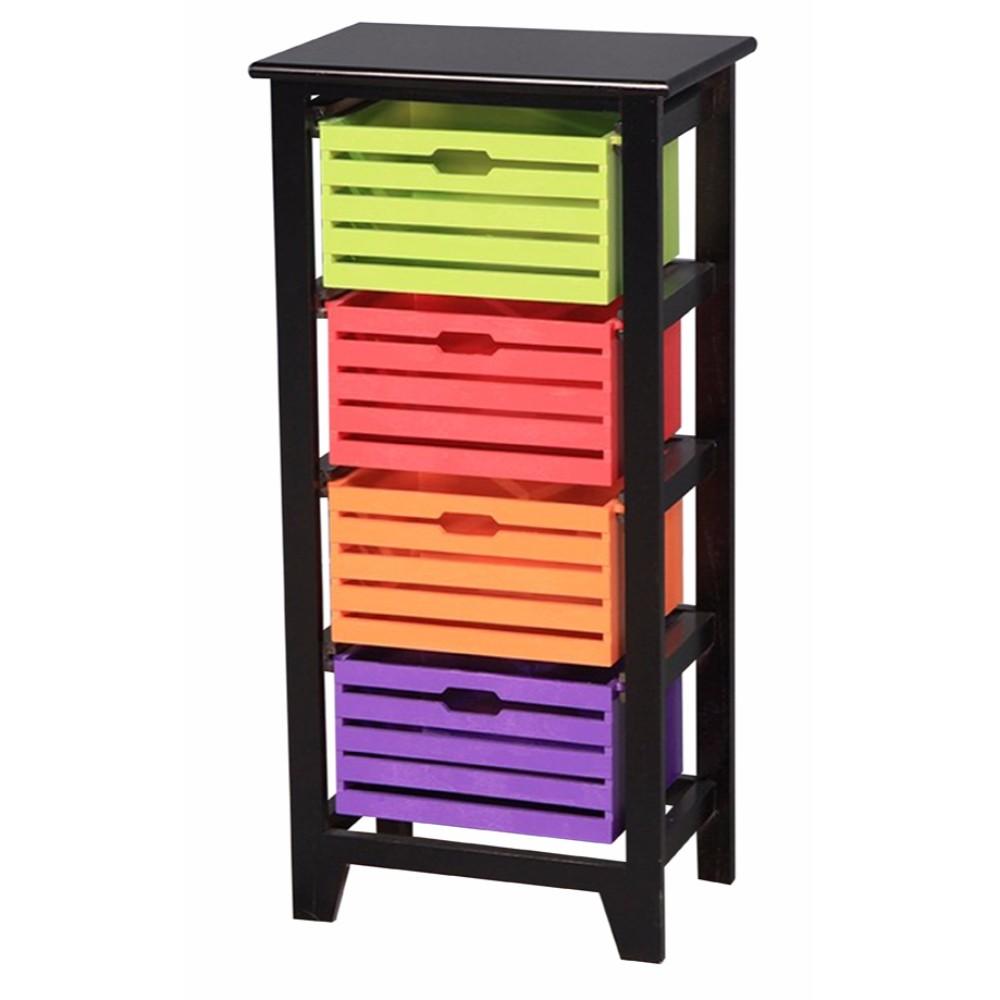 Solid 4-Tier Wooden Storage Cabinet ,Black