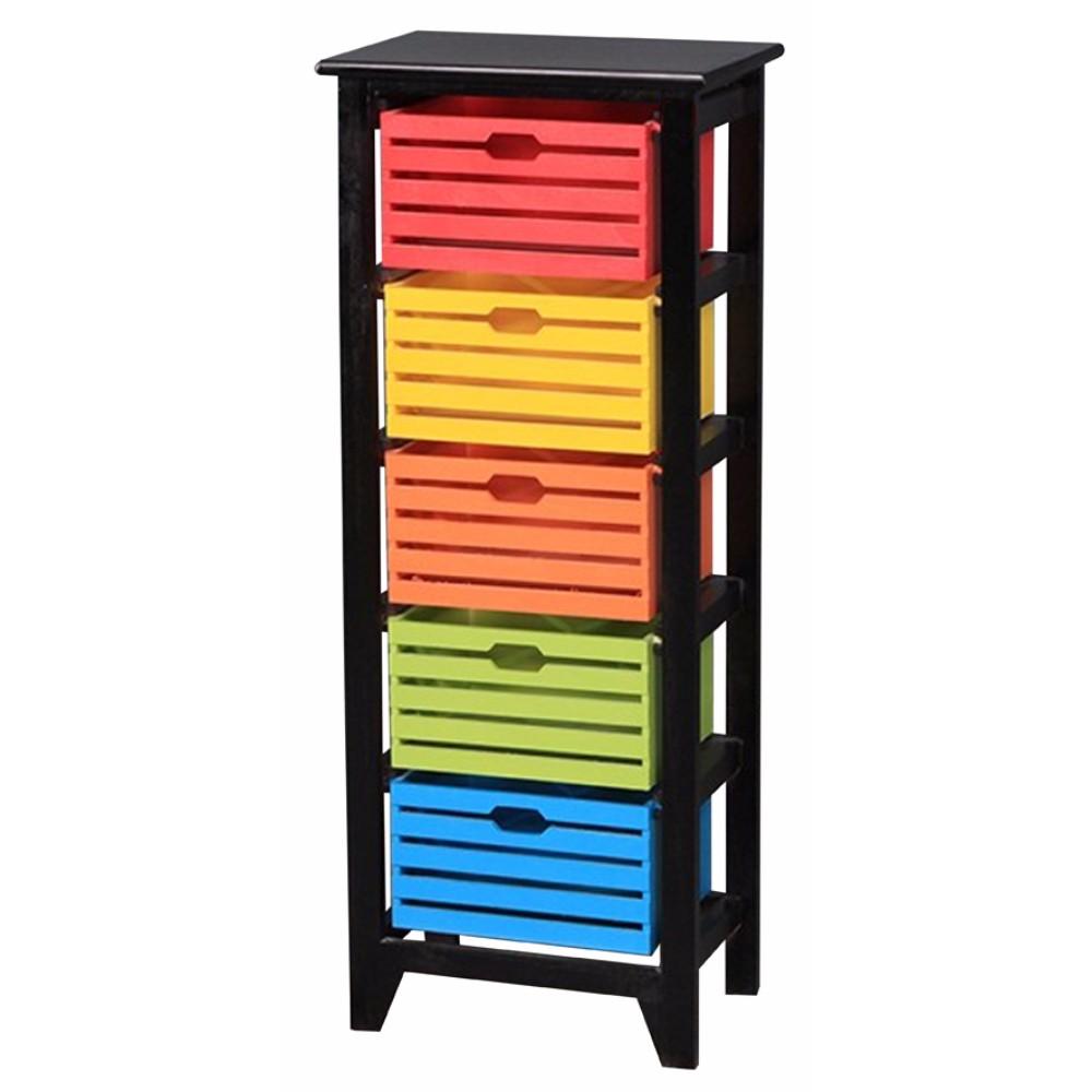 Vibrant 5-Tier Wooden Storage Cabinet ,Black