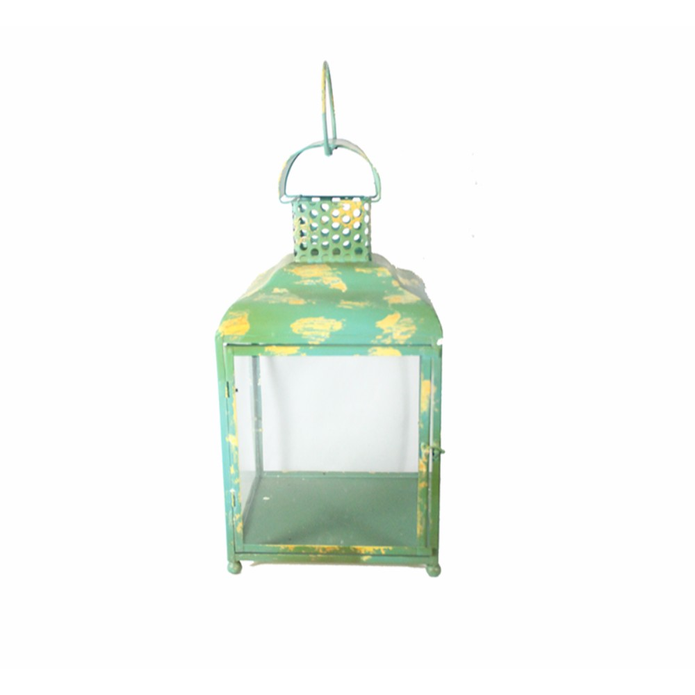 Beguiling Square Metal Candle Holder, Green