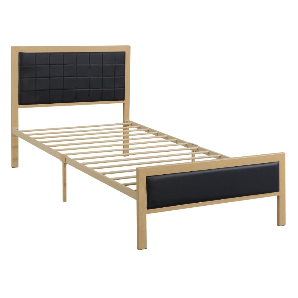 Wooden Twin Bed In PU, Black