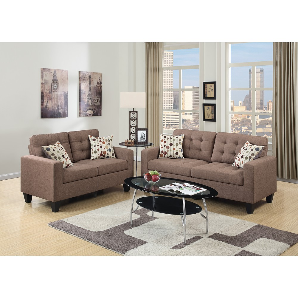 Linen Fabric 2 Pieces Sofa Set In Light Brown