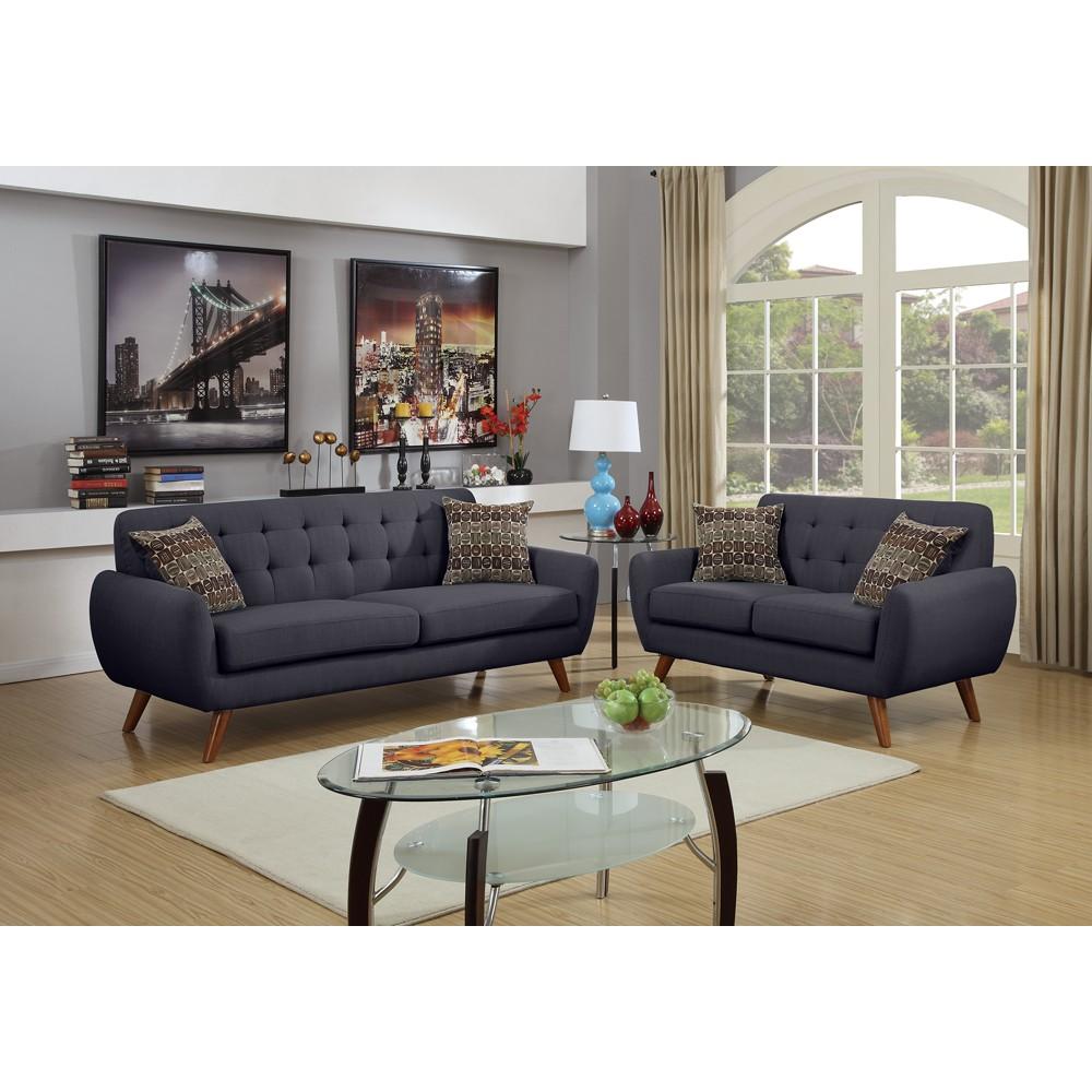 Polyfiber 2 Piece Sofa set With Cushion Seats In Dark Gray