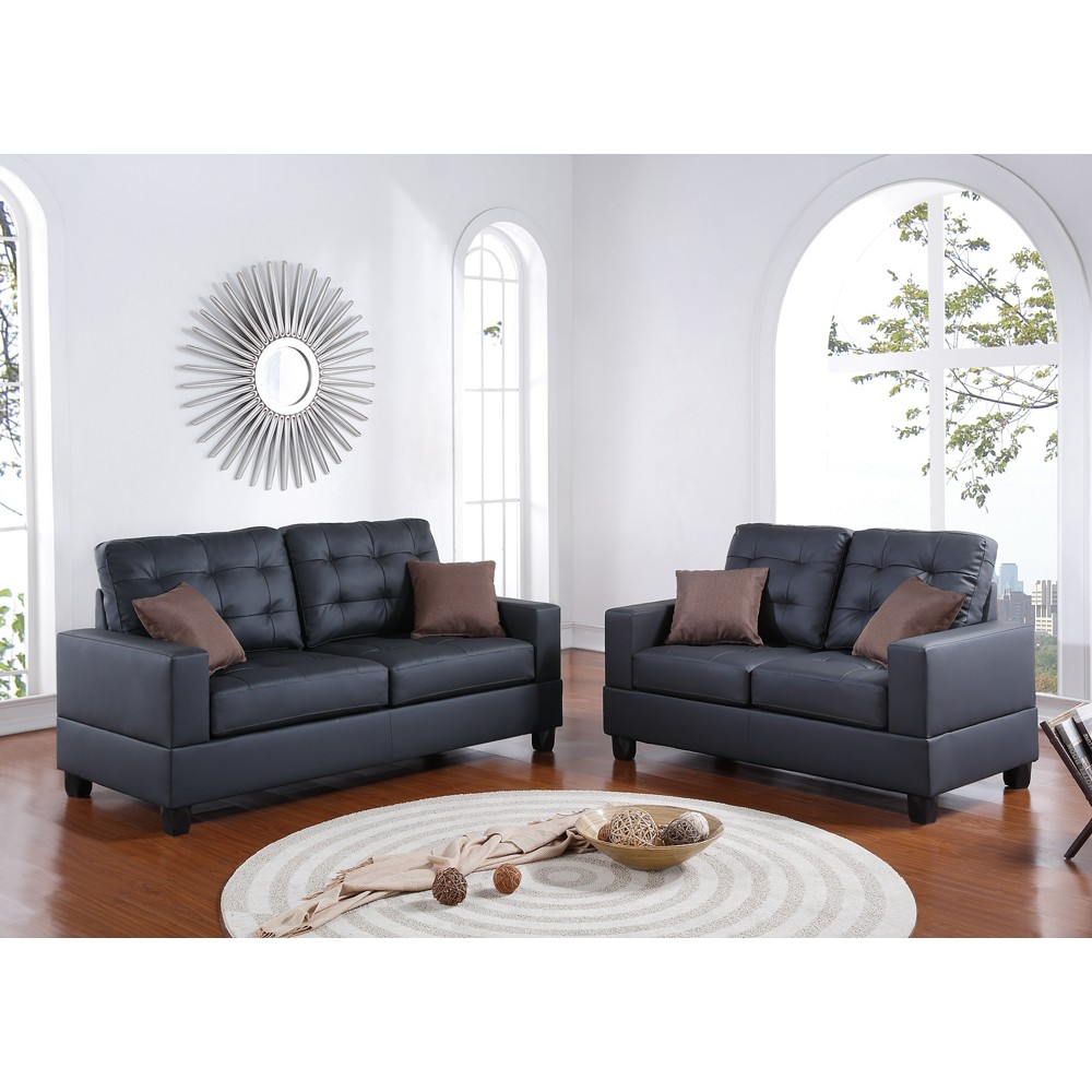 2 Pieces Sofa Set With Pillows In Black