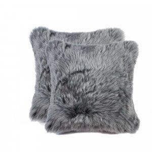 """18"""" x 18"""" x 5"""" Gray Sheepskin  Pillow 2 Pack"""