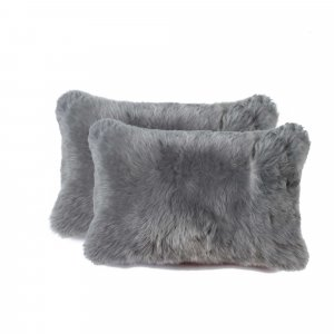 """12"""" x 20"""" x 5"""" Gray Sheepskin  Pillow 2 Pack"""