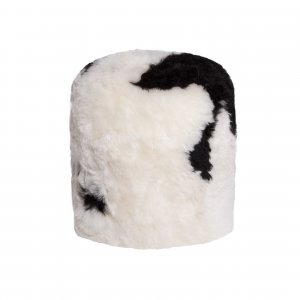 "18"" x 18"" x 16.5"" Spotted Short-Hair Sheepskin - Stump Pouf"