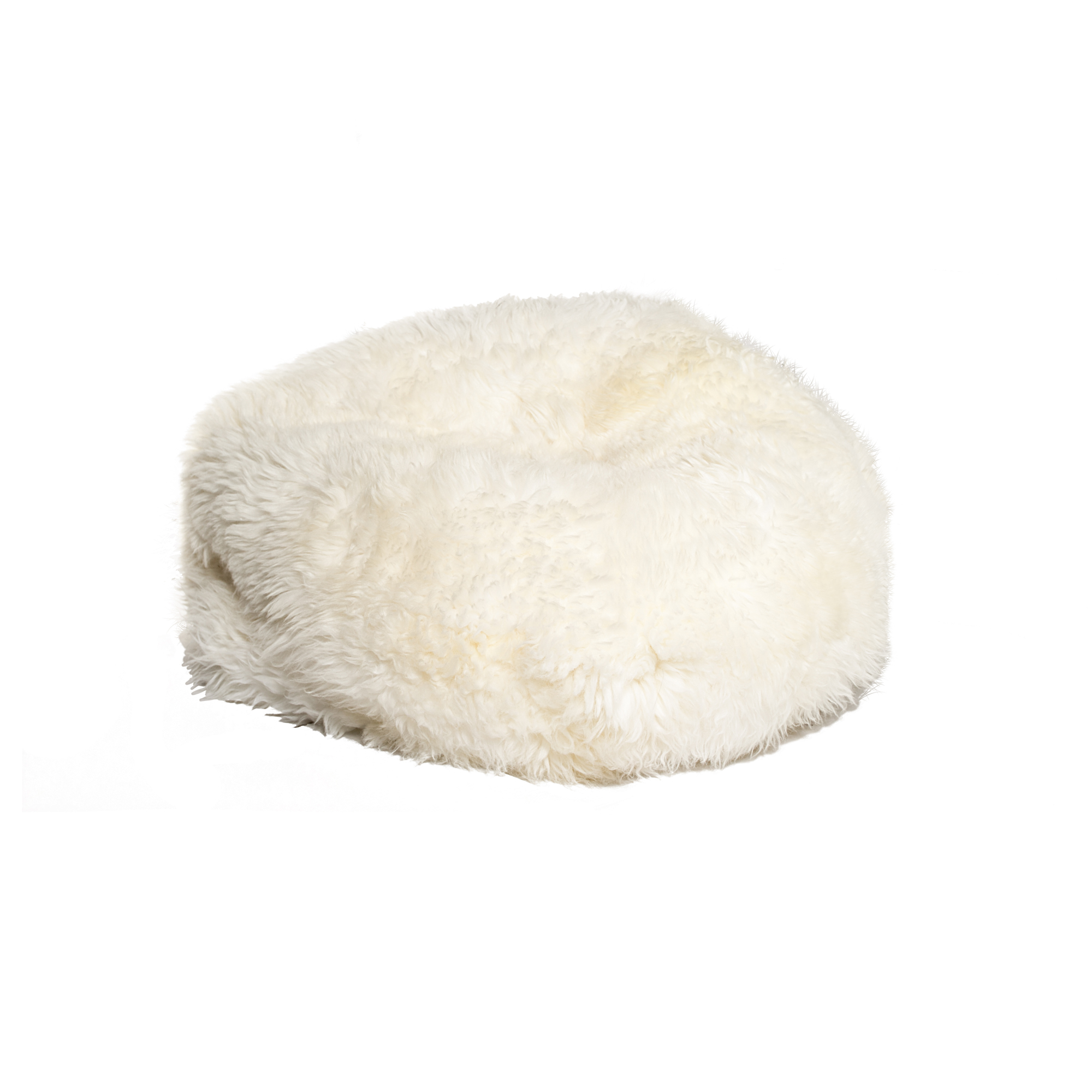 "31"" x 31"" x 31"" White Short-Hair Sheepskin Bean Bag"